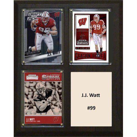 C & I Collectables Ncaa 8 inch x 10 inch JJ Watt Wisconsin Badgers 3 Card Plaque
