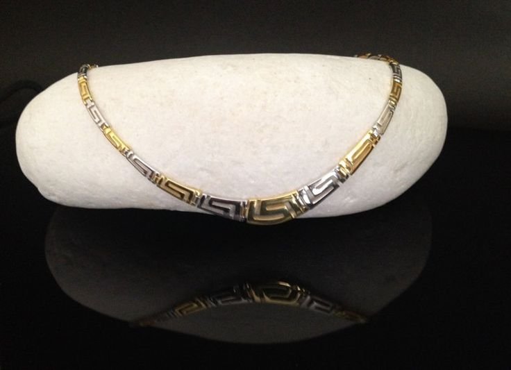 Meander greek key golden silver necklace Greek by ThetisTreasures