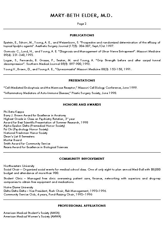 medical school resume format resume format and resume maker - A Curriculum Vitae Sample