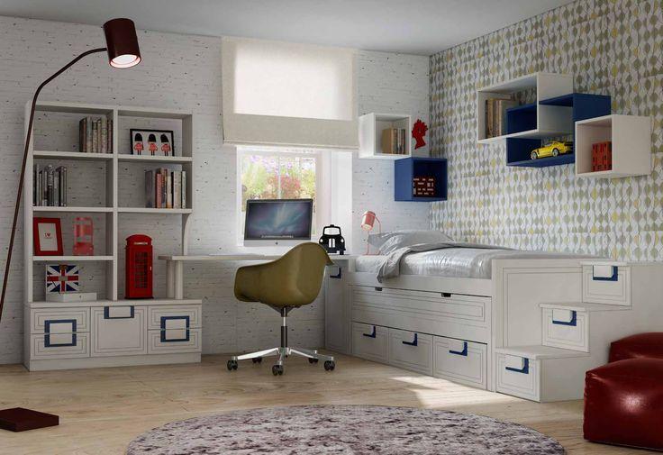 Con un diseño totalmente único y exclusivo, esta gama de dormitorios juveniles modernos, destacan por sus materiales de primera calidad resistentes y duraderos. Personaliza el espacio más personal de los peques de una manera totalmente única.
