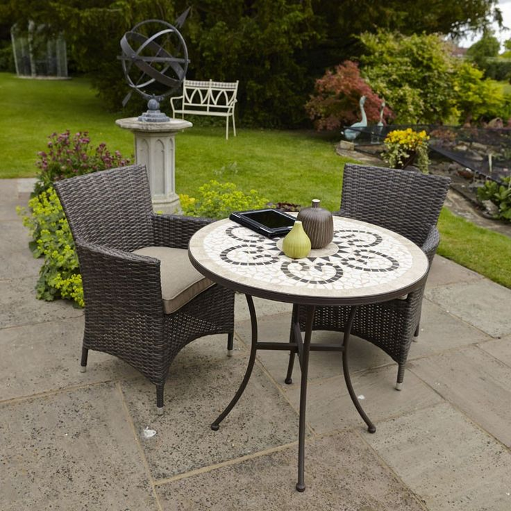 Savannah 76cm Bistro Set, quality weave tea for two for the garden
