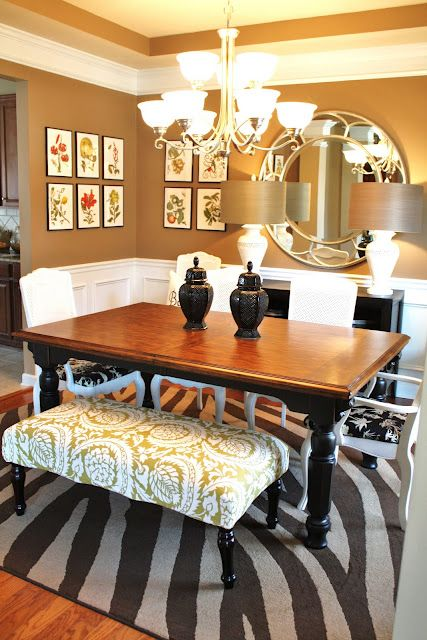 not afraid to mix many materials...love: Wall Colors, Mirror, Decor Ideas, Benches, Chairs, Rooms Ideas, Beautiful Dining Rooms, Dinning Rooms, Dining Rooms Tables