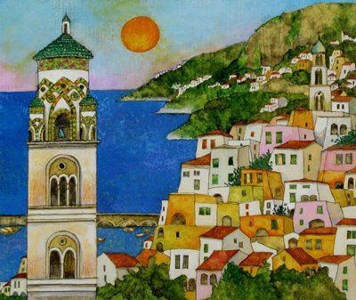 "Positano - Oil on canvas 16"" x 16"" $389.00 Hand painted in Vietri Italy. Please allow 30 days for our artisans to create your special piece of art for you! Also available is size 24"" x 24"""