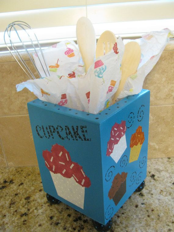 Cupcake Utensil Holder and kitchen Decor by bubee on Etsy, $35.00