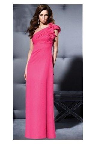 Pink Junior Bride Dresses | Pink One Shoulder Used Junior Bridesmaid Gowns