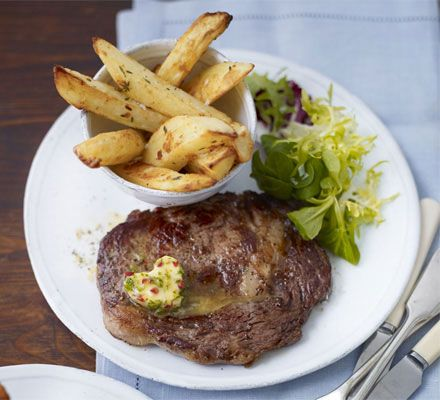 Rib-eye steaks with chilli butter & homemade chips  Dinner | Valentines Day | #alittlethoughtforfood | #ManFood