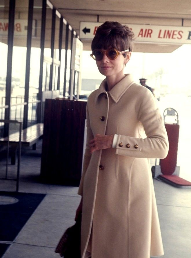 Audrey Hepburn wearing Givenchy at JFK International Airport in New York, April 1st, 1968.