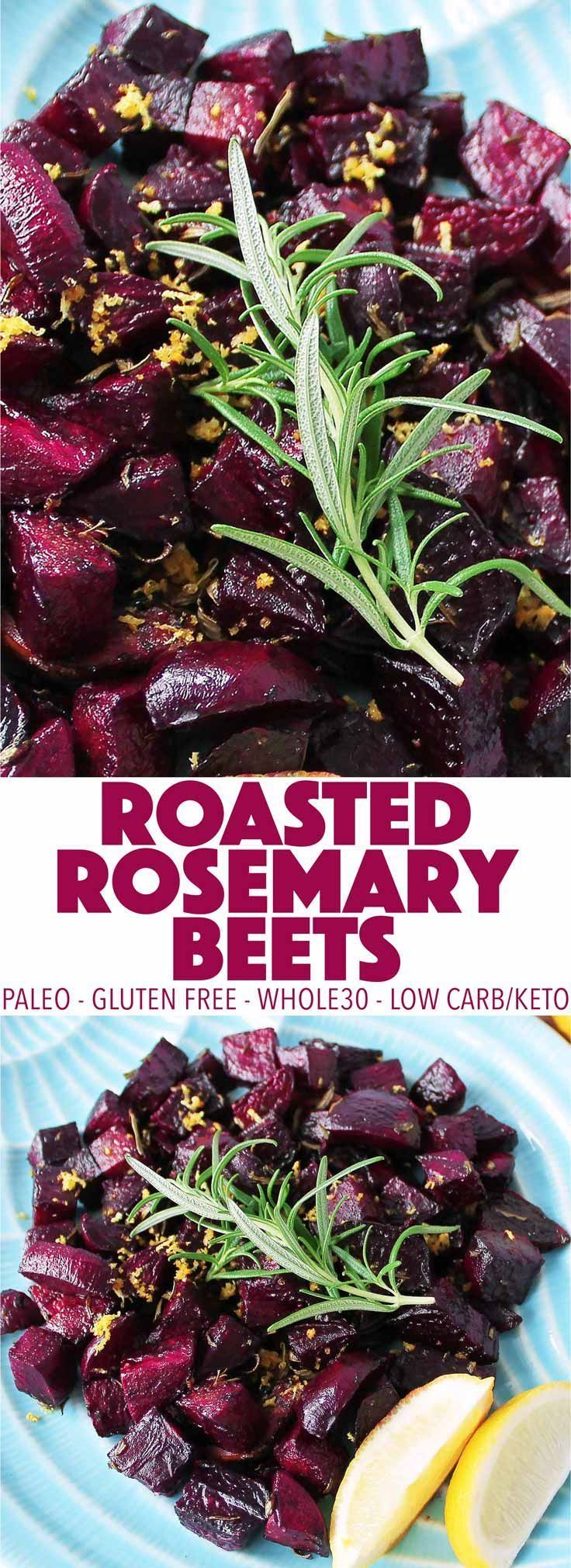 An easy, healthy side dish! These roasted rosemary beets are simple to make and full of flavor. This recipe is paleo, low carb, keto, and Whole30!
