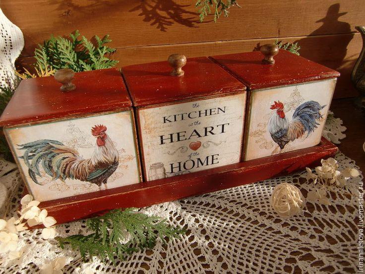 "Купить Набор коробов для кухни "" Петушки"" - короб для специй, Короб для мелочей, короб для хранения"