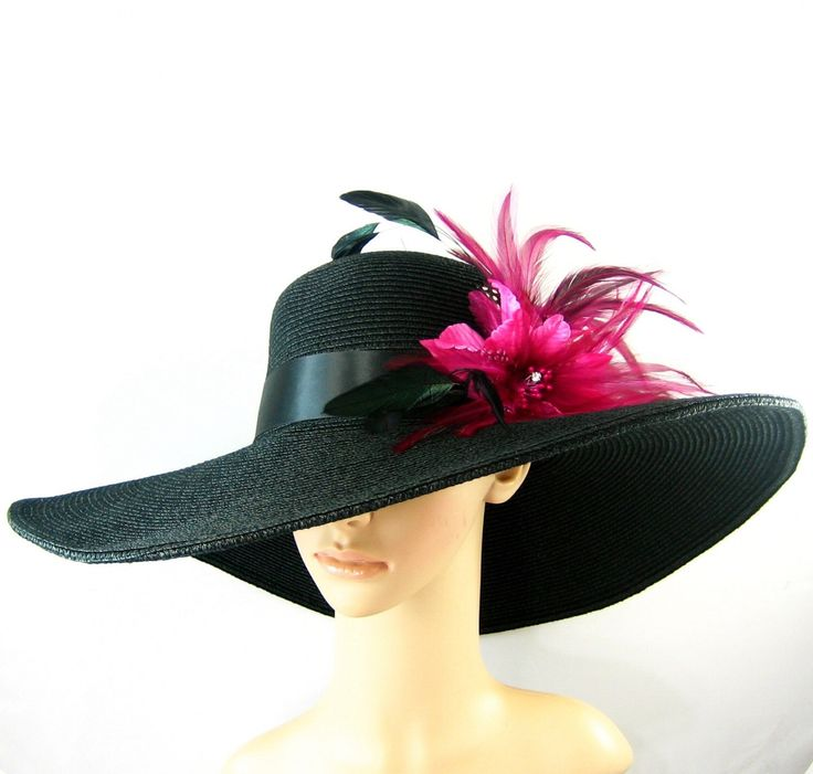 Pink feathers, Derby Hat, BLACK Kentucky Derby Hat, Church Hat, Dressy Hat ,Formal Hat, Wedding Hat,Special Occasion by theoriginaltree on Etsy https://www.etsy.com/listing/198412177/pink-feathers-derby-hat-black-kentucky