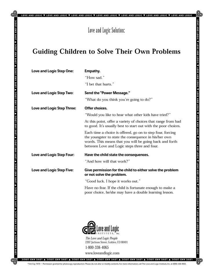 How to guide your children to solve their own problems.... parenting tips from Love and Logic