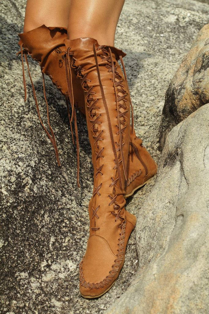Leather Boots For Women in Tan with Tan Lacing. This company has AWESOME leather boots.