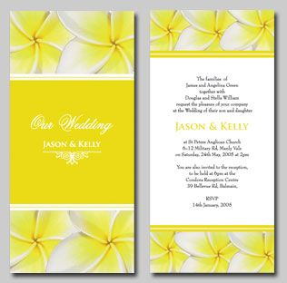 Yellow Frangipani Wedding invitations and matching wedding stationery. Click to view flower colour options etc  http://www.idovedesign.com.au/f2-frangipani-wedding-invite.html