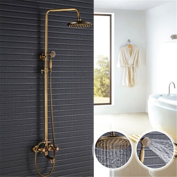 Antique Brass Waterfall Shower Faucet Set Rain Shower Head Sprayer