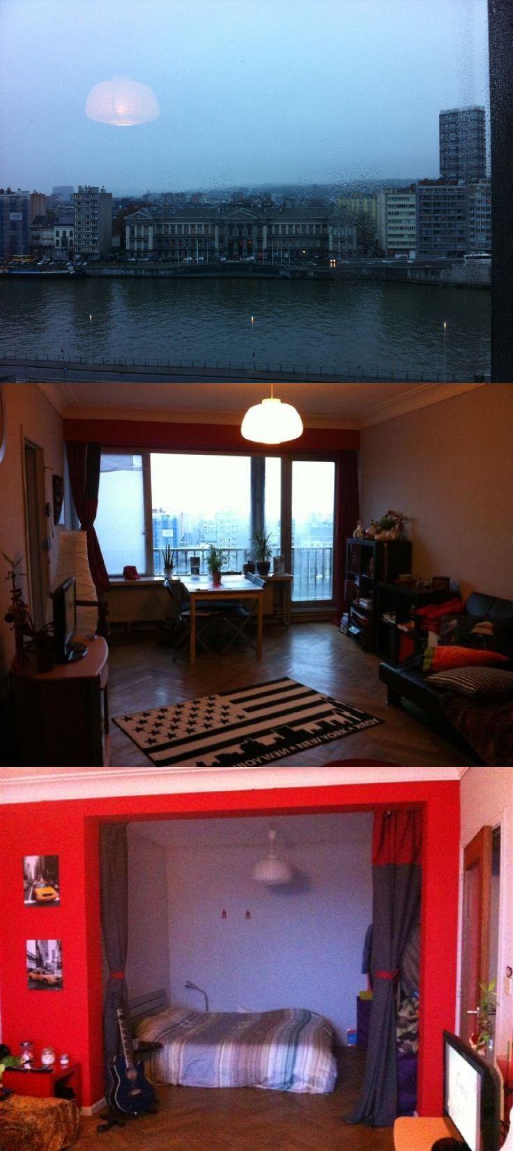 Tour Kennedy - magnifique studio avec vue sur Meuse situé au 4ème étage et comprenant : un hall, un débarras, un living avec coin à dormir, une cuisine, une salle de bains et wc à part. 65.000