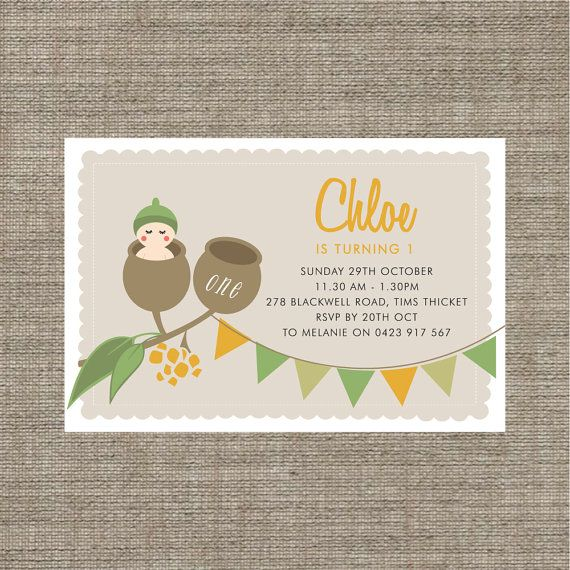 Printable Gumnut babies birthday invitation / by BonjourBerry, $16.00