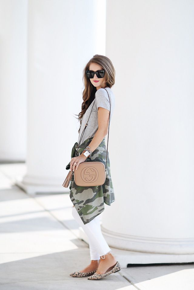 heather grey V-neck tee  (only $15 & comes in several colors!)  J.Crew camo shirt (old), similar HERE , HERE  & HERE  // white...