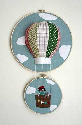 @Emily Miller thought of you ;) Felt hoop applique embroidery hot air balloon