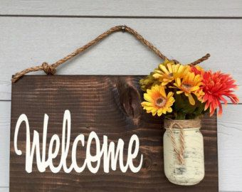Rustic Outdoor Welcome Sign in blue/white Outdoor by RedRoanSigns