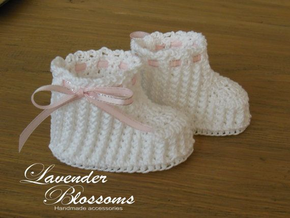 Organic cotton white Baby Booties Crochet by LavenderBlossoms, $18.00