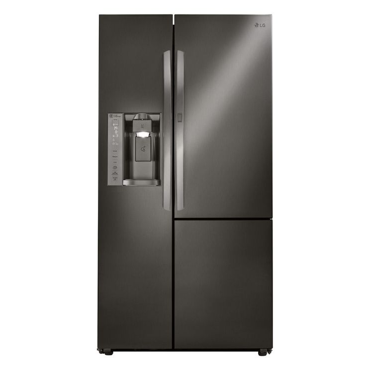 LG 26.1-cu ft Side-by-Side Refrigerator with Single Ice Maker and Door Within Door (Black Stainless Steel)