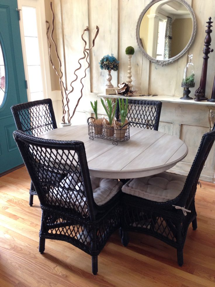 Pottery Barn Delany Chairs with a antique oval table painted with Annie  Sloan Chalk paint coco326 best Dining Room Ideas images on Pinterest   Dining room  . Painting Dining Table Black. Home Design Ideas