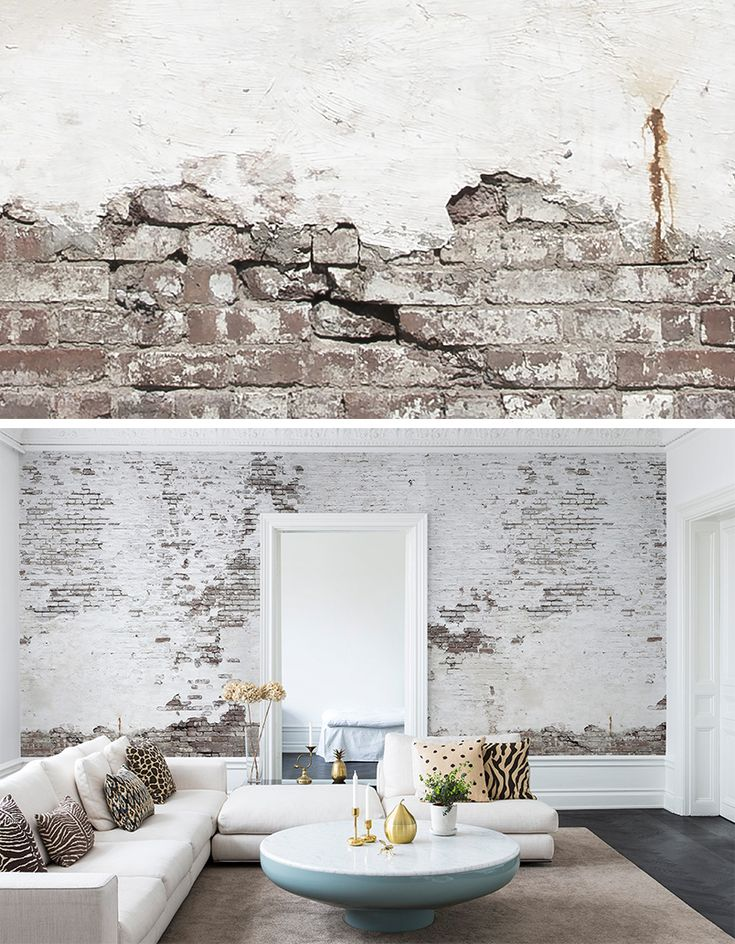 Industrial ivory beautiful photo walls and industrial for Brick wallpaper ideas