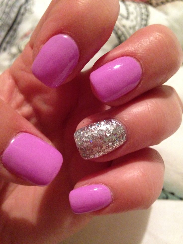 No chip nails. Light purple with sparkle accent nail. Squared shape.