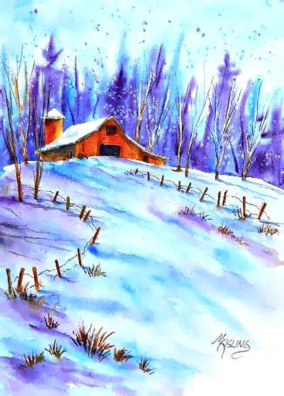 Watercolor Barn Watercolor Snow Winter Art Colorado