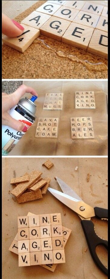 Create your own coasters or wall art using scrabble pieces.