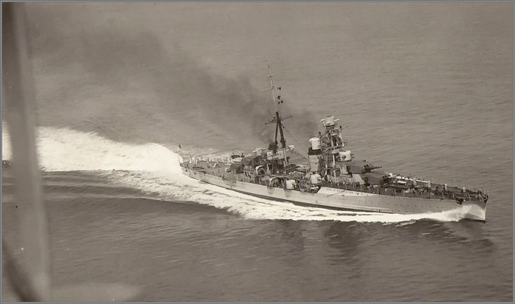 Zara class Italian 8 in heavy cruiser Fiume at full speed, pictured pre WW2.  She was sunk with heavy loss together with sisters Zara and Pola in March 1941 at the Battle of Cape Matapan  by British radar equipped battleships, caught completely by surprise at night at close range.