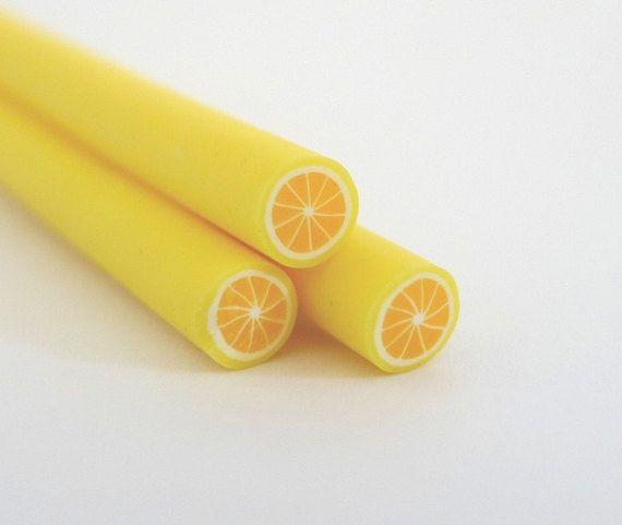 Dollhouse Miniature Yellow Lemon Polymer Clay Canes Set of 5