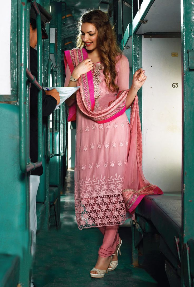 Pink Chiffon Pakistani Style Suit 66248