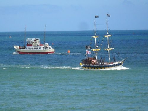 Yorkshire Bell and pirate ship in Bridlington  Had many trips on the Yorkshire Bell!