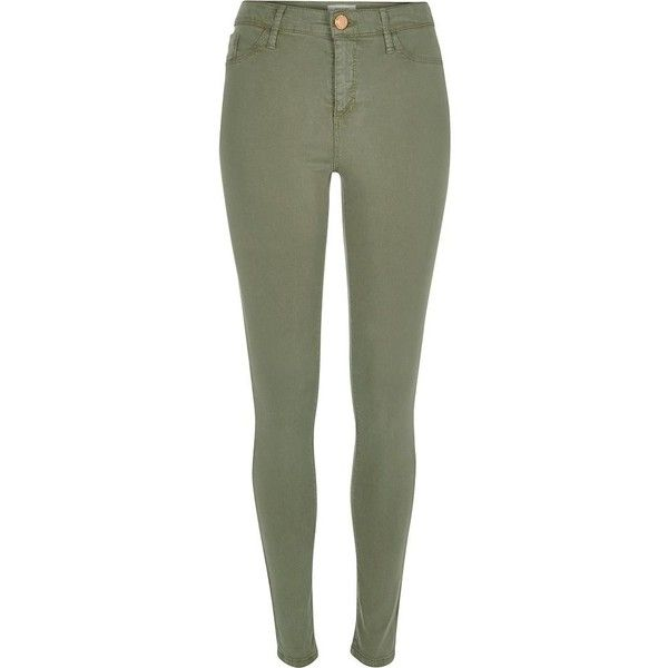 River Island Light green sateen finish Molly jeggings found on Polyvore featuring pants, jeans, bottoms, pantalones, sale, river island, jeggings leggings, green jeggings, light green leggings and sateen pants