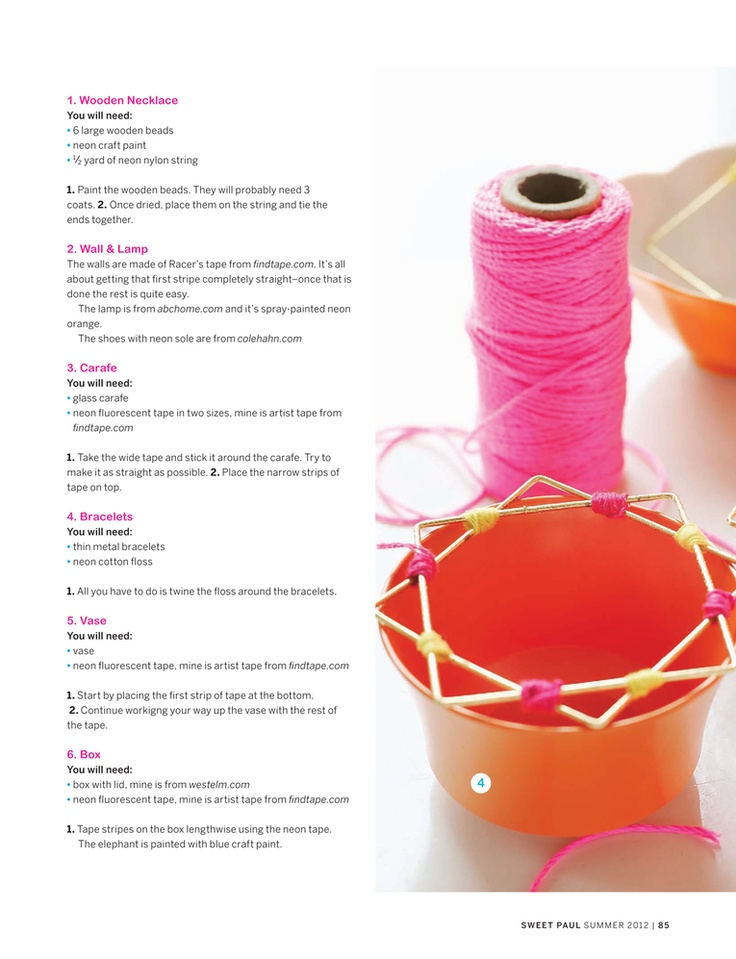 Wooden neon necklace- Sweet Paul Magazine - Summer 2012 - Page 84-85