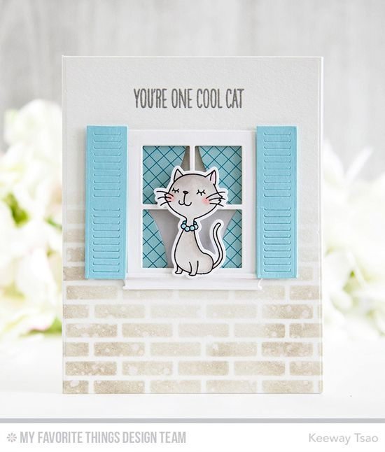 Cool Cats Stamp Set and Die-namics, Classic Window Die-namics, Small Brick Wall Stencil - Keeway Tsao  #mftstamps