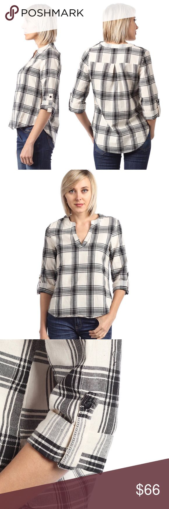 Cream and Black Rolled Sleeve Split Neck Check Top A cute, classic, top with a graphic cream and black plaid check pattern on a soft, wear anywhere blouse. Lightweight with versatile long sleeves you can roll and button up, makes this blouse perfect for cool weather.   Size Small  ❌ Sorry, no trades. fairlygirly Tops Tees - Long Sleeve
