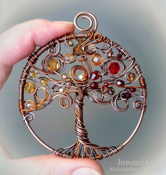 Autumn Tree of Life pendant- wire wrapped copper Tree of Life with yellow/bronze/red leaves, unique artistic jewelry, finesse, gift idea