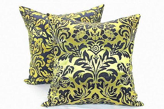 God black silk satin damask throw pillow cover 20x20   Gold