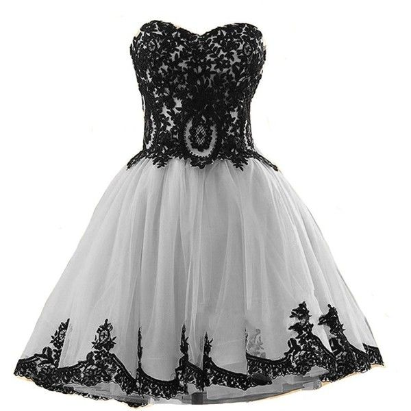 Kivary Short Tulle Vintage Black Lace Gothic Prom Homecoming Cocktail... ($100) ❤ liked on Polyvore featuring dresses, prom dresses, short lace dress, evening cocktail dresses, cocktail prom dress and homecoming dresses