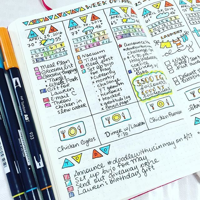 In my last YouTube video (link in bio) I spoke about how you didn't need to be an artist to make your #bulletjournal pages come alive. By using simple techniques and color, it's amazing how we can tap into creativity we didn't even know we had within us. This week I did a totally different layout combing my weekly and dailies, stuck with a color theme, and I'm so happy with how it came out. Simple shapes and the use of color can make all the difference! 🔻👍🏻🔺4.28.16 // #bulletjournaling…