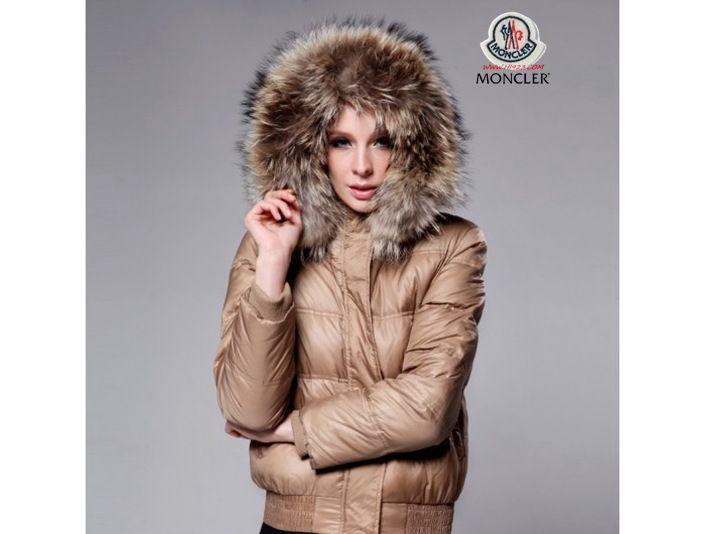 jacken Moncler Damen Pelz Kragen Daunen Jacke Khaki jacke kaufen