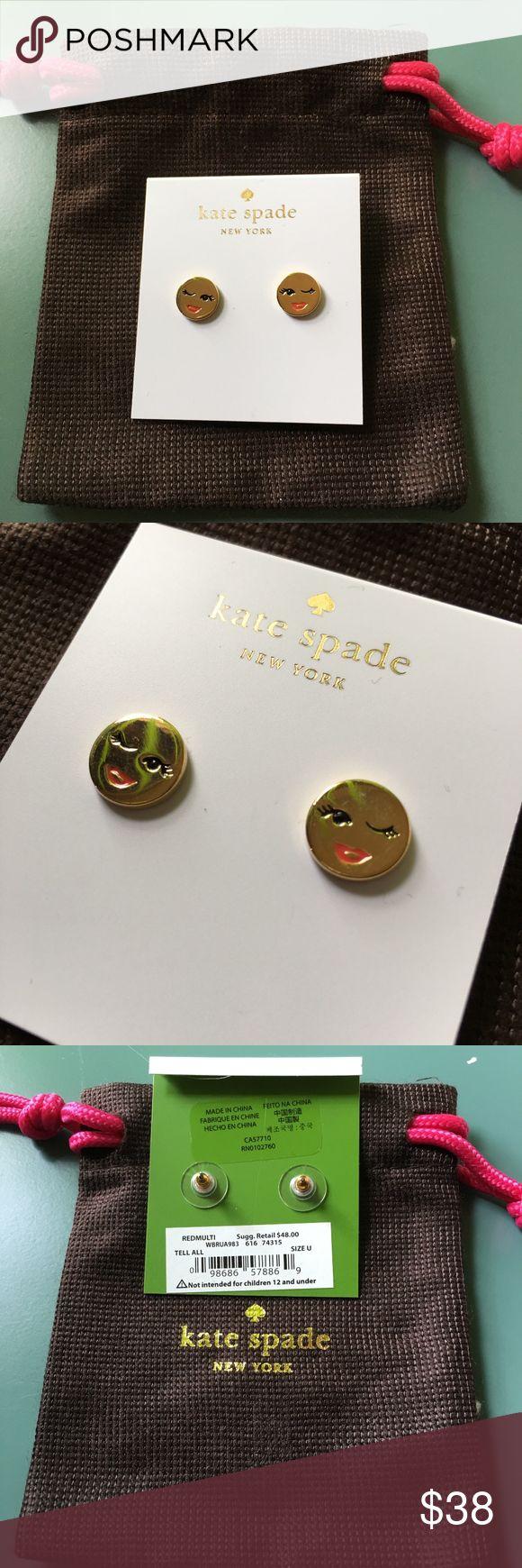 Kate Spade Tell All Emoji Earrings KSNY 12k gold tone wink emoji earrings. Dust bag included. kate spade Jewelry Earrings