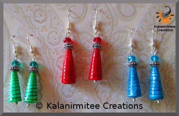 Paper Bead Earrings - Visit http://www.kalanirmitee.com