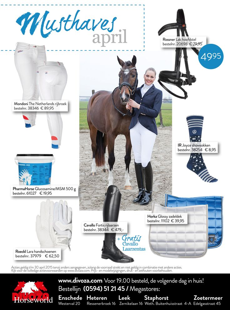 #musthaves van de maand #april bij #divoza 2015. #red #blue #white #ruitersport #horses #paarden #mode