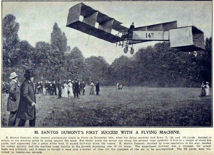 Ilustração do voo do Santos-Dumont 14-bis em 12 de novembro de 1906, que rendeu a Santos Dumont o Prêmio do Aeroclube da França.