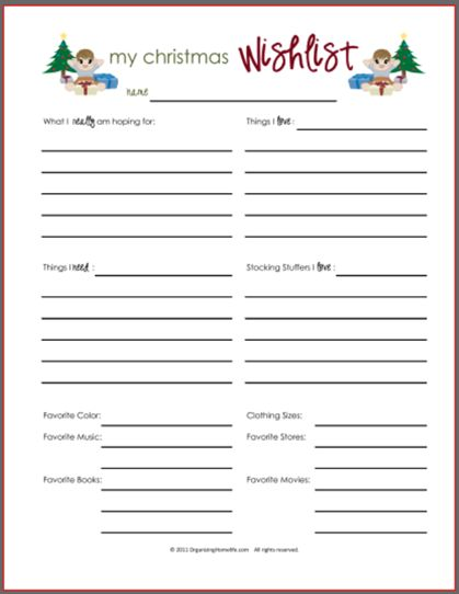 Printable Christmas Gift Wish List Plus Lots Of Great Christmas Organizing  Ideas.  Christmas List Maker Free