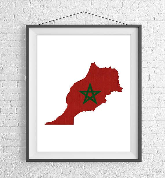 Morocco Flag Map Print, https://www.etsy.com/listing/537827135/morocco-flag-map-print-morocco-map?ref=shop_home_active_9 Morocco Map, Morocco Silhouette Art, Housewarming Gift Idea, Poster, Moroccan Wall Art, Map of Morocco, Moroccan Art