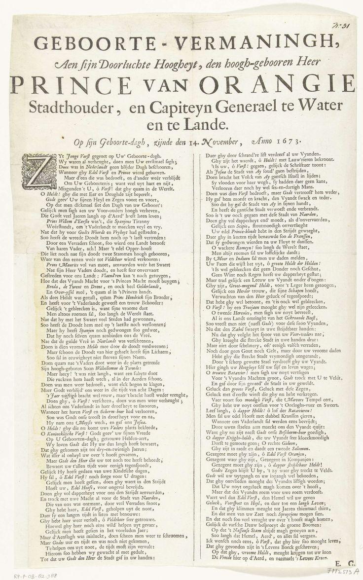 Anonymous | Lofdicht op prins Willem III, 1673, Anonymous, 1673 | Lofdicht op prins Willem III op zijn 23ste verjaardag op 14 november 1673. Vers in twee kolommen, ondertekend met: E.C.